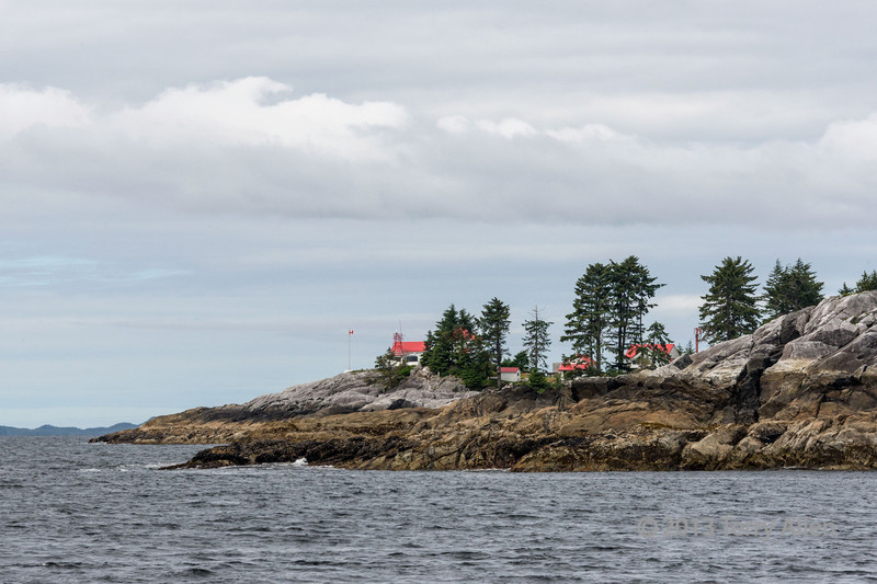 McInnes Island manned lighthouse, which marks a series of reefs along the Inside Passage from Vancouver to Prince Rupert.