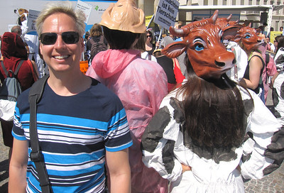At the Vegan Protest at the Brandenburg Gate