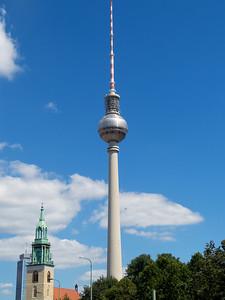 The 1,200 foot tall TV tower (Fernsehturm), built in 1969.