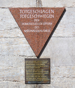 """""""Beaten to death, silenced by death, to the homosexual victims of National Socialism   The Pink Triangle was used by the Nazis to distinguish homosexuals at concentration camps  From 1933, all homosexual institutions around Nollendorfplatz were either closed or put on the """"pink list"""", which allowed for raids and further harassment"""""""