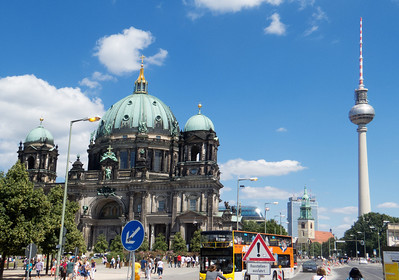 From left to right - Berlin Cathedral, Marien Church and the Fersehturm (TV Tower)