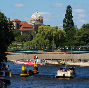 The Spree River and a view of the Dome of the New Synagogue