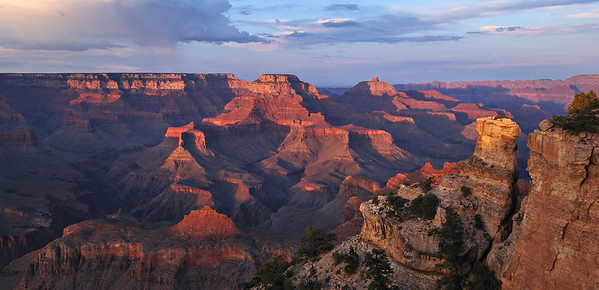 Yaki Evening. The last of evening light leaves the depths of the Grand Canyon as rain showers grace the north rim.