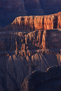 Curtains of Light. Evening light glances off the walls within the Grand Canyon.