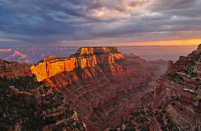 Wotans Throne. Late afternoon sun lights the side of Wotans Throne near Cape Royal on the North Rim of the Grand Canyon.
