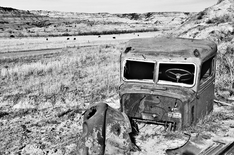 Federal trucks are no longer produced, but up until about 1950, the work horse was used in ranch country.  Now parked under a bluff, the remains are slowly stripped away for re-purposing, leaving only the cab.
