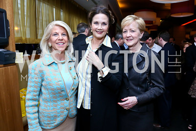 "Kandy Stroud, Lynda Carter, Ann Stock. Photo by Tony Powell. Bob Colacello ""Holy Terror"" book party. Central. April 2, 2014"
