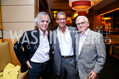 "Rudi Djabbarzadeh, Mark Lefkowitz, Israel Kogan. Photo by Tony Powell. Bob Colacello ""Holy Terror"" book party. Central. April 2, 2014"