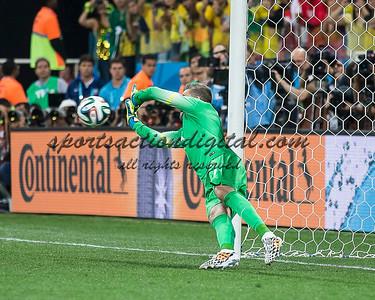 Stipe Pletikosa attrmpts to stop a penalty kick, Brazils second goal.