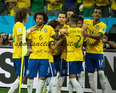 Brazilian players celebrate