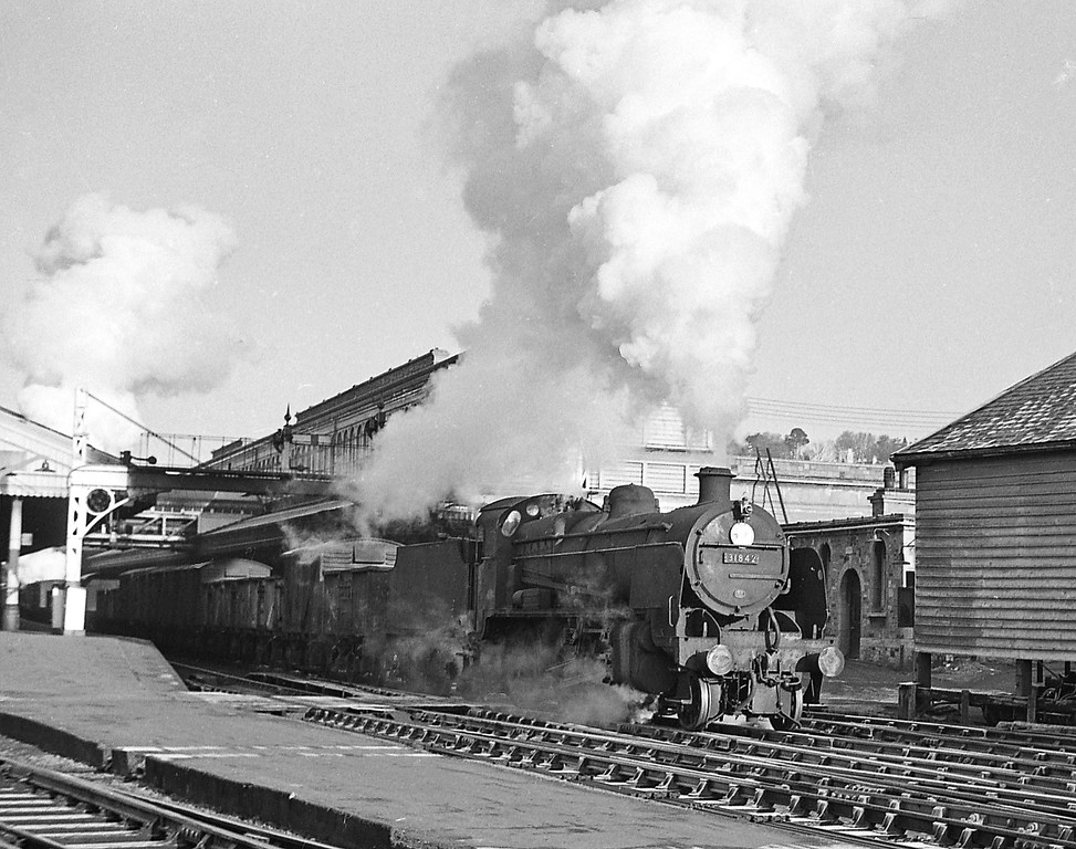 31842, up freight, banked by 4694, Exeter St David's, December 21, 1963.
