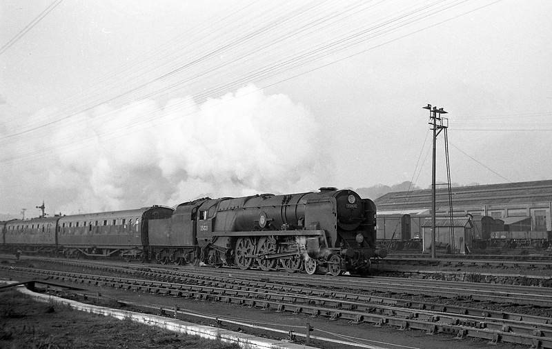 35021 New Zealand Line, Exeter Central-London Waterloo, passing Exmouth Junction Shed, Exeter, December, 1963