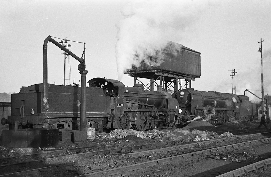 31838, 35016 Elders Fyffes, Exmouth Junction Shed, Exeter, December, 1963