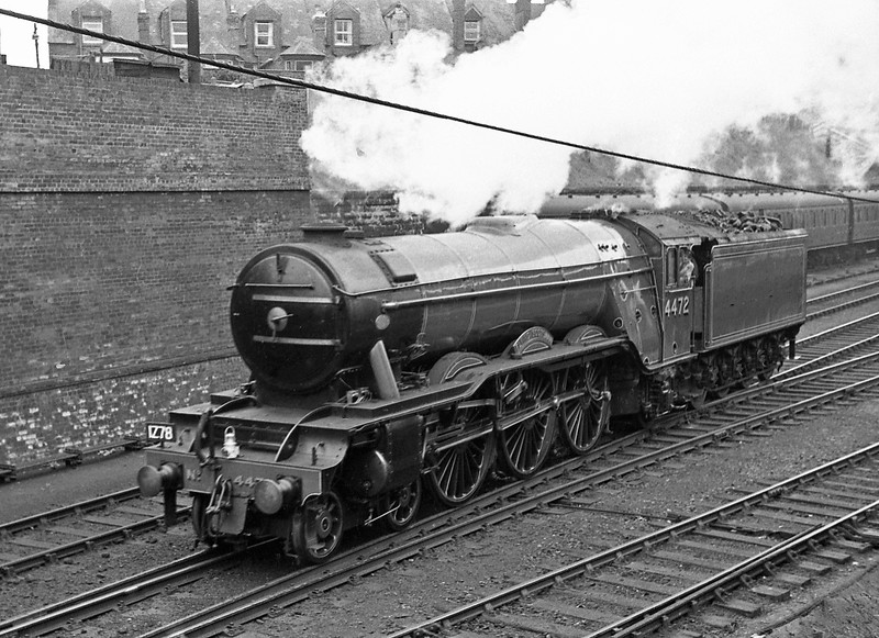 4472 Flying Scotsman, passing Exeter Central carriage sidings en route to Exmouth Junction Shed after working Western Belle rail tour from London Paddington to Taunton, October 19, 1963. 4472 also worked return from Exeter Central to London Waterloo.