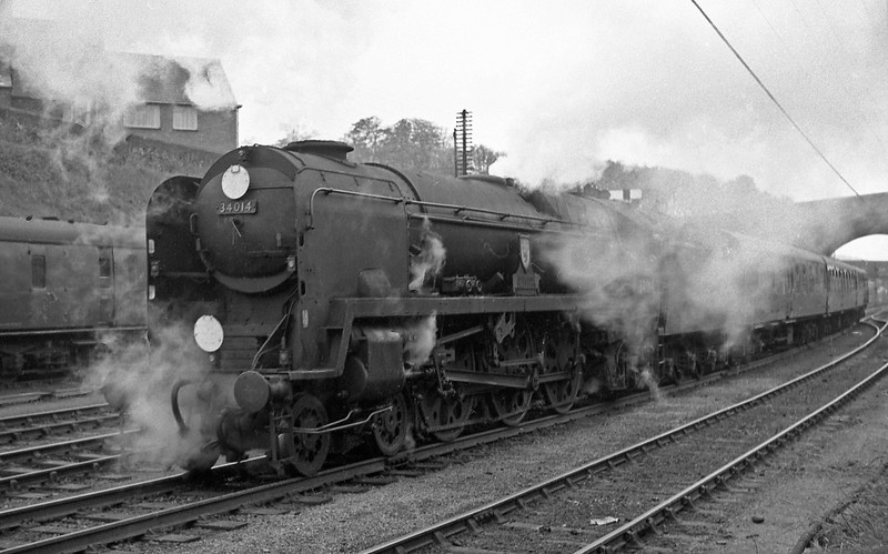 34014 Budleigh Salterton, up semi-fast, departing Exeter Central, October 19, 1963.