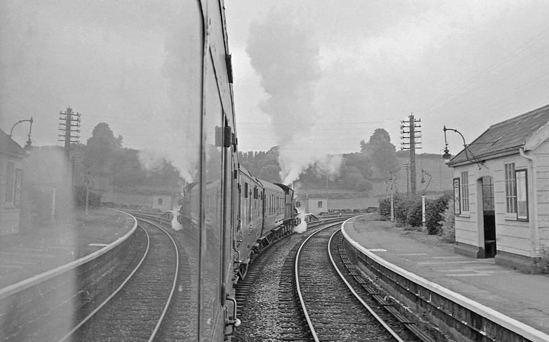73XX, Barnstaple Junction-Taunton, departing Wiveliscombe station, September 14, 1963.