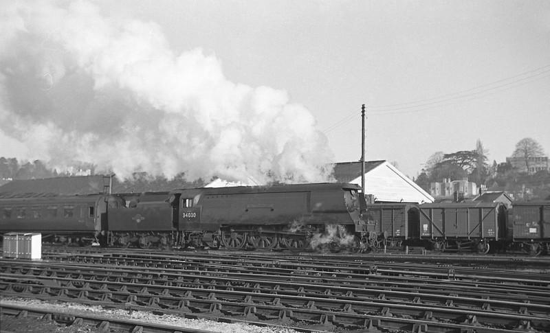 34030 Watersmeet, up passenger, Exeter St David's, 1963
