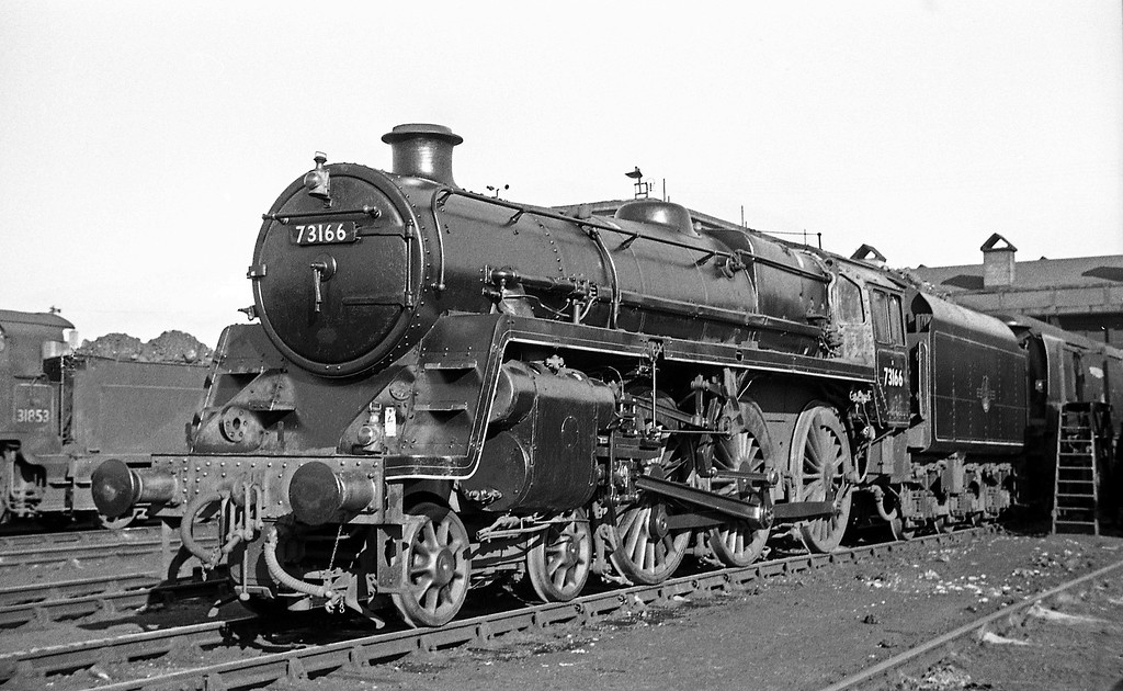 73166, Exmouth Junction Shed, Exeter, autumn, 1963.