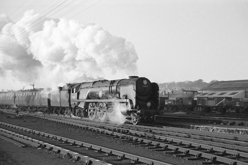 35021 New Zealand Line, Exeter Central-London Waterloo, Exmouth Junction, Exeter, 1963.