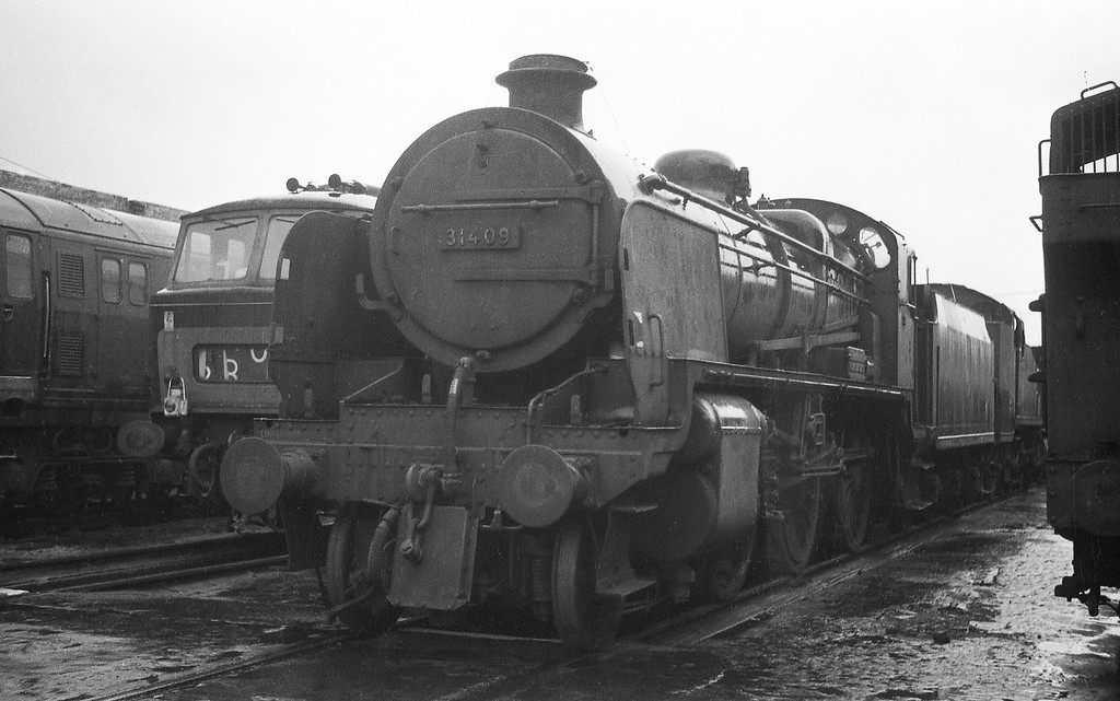31409, Exmouth Junction Shed, Exeter, winter, 1963.