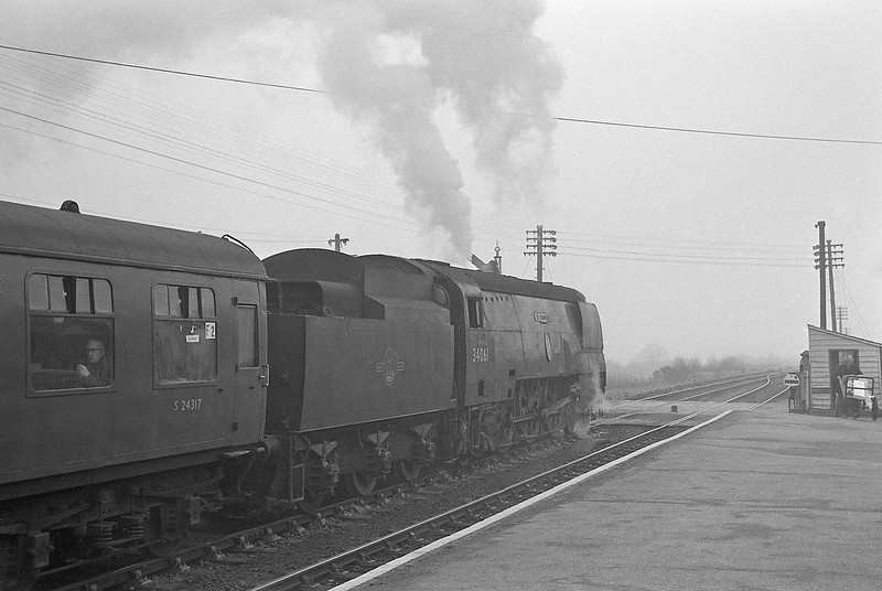 34061 73 Squadron, Padstow-London Waterloo, Halwill Junction, foggy April 7, 1964.