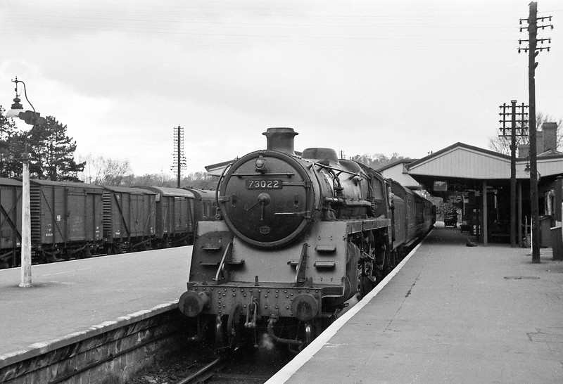73022, up passenger, Yeovil Pen Mill, April 14, 1964.