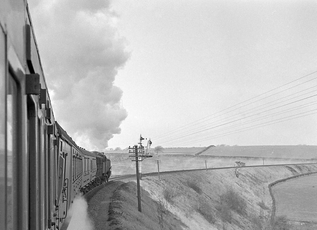 80035, Okehampton-Bude, near Meldon Viaduct, Okehampton, April 7, 1964.
