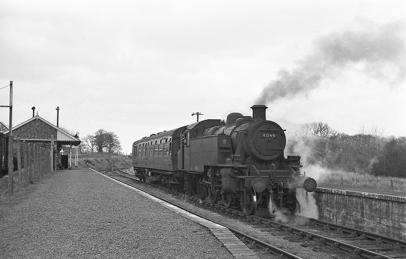 41249, Torrington-Halwill Junction, Hole (for Black Torrington) Station, April 7, 1964.