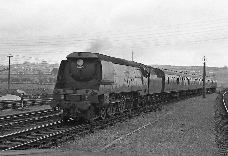 34061 73 Squadron, Exeter Central-Ilfracombe, Barnstaple Junction, April 7, 1964.