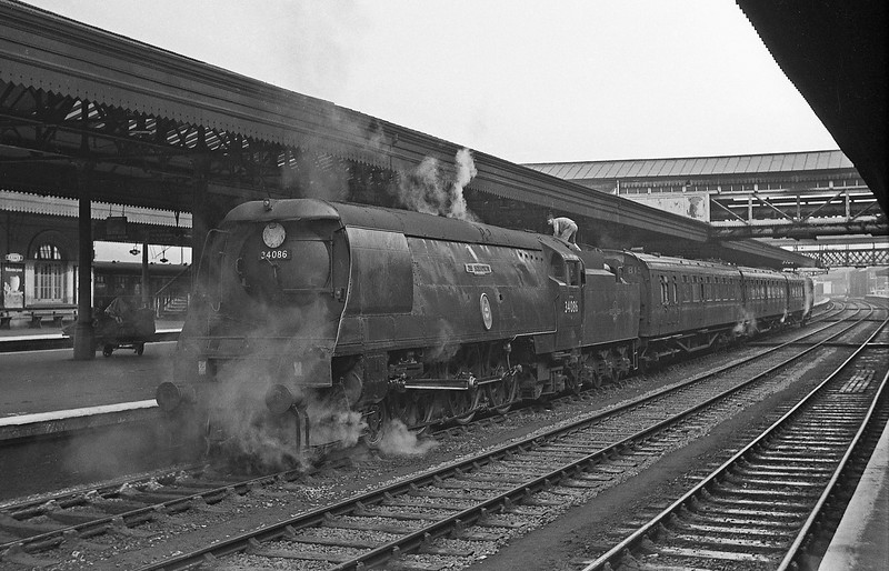 34086 219 Squadron, up passenger, Exeter St David's April 7, 1964.
