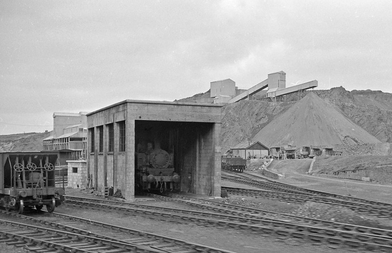 Meldon Quarry shunter, April 7, 1964. Taken from passing Okehampton-Halwill Junction train.