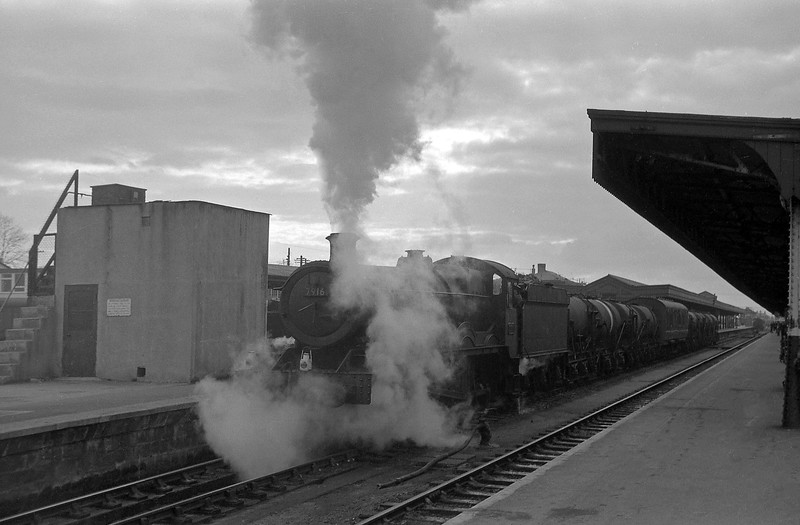 7916 Mobberley Hall, up milk, departing Taunton Station, April 14, 1964.