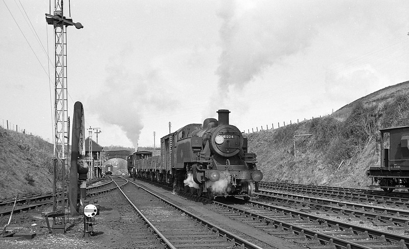41224, shunting down freight, Torrington, April 7, 1964.
