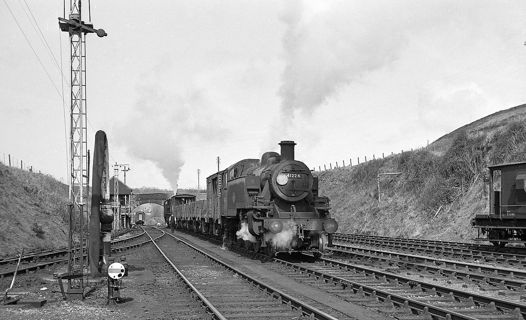 41224, shunting down freight, Torrington, April 7, 1964.