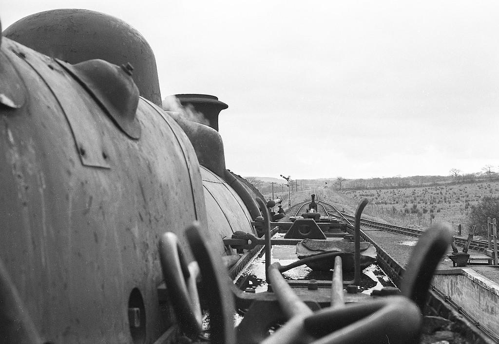 Cab shot from 41249, Torrington-Halwill Junction, Hole (for Black Torrington), April 7, 1964.