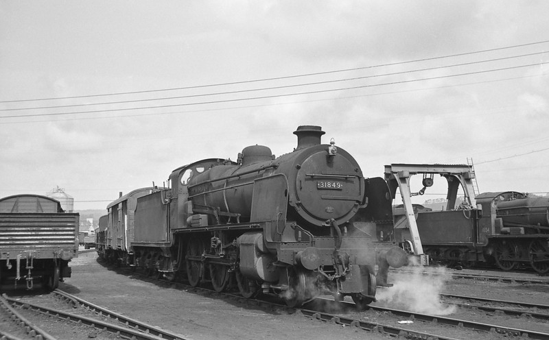 31849, up freight, Barnstaple Junction Yard, April 7, 1964