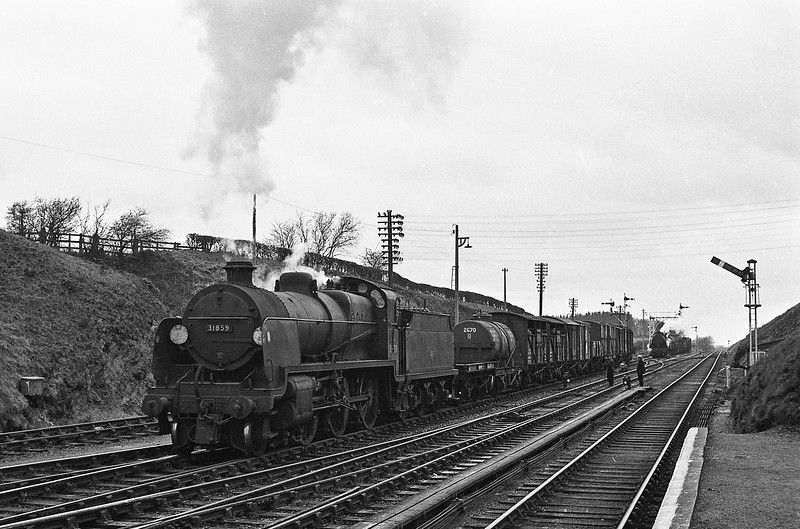 31859, up freight, Halwill Junction, April 7, 1964.