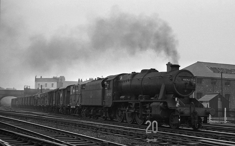 48742, up freight from West Coast Main Line, passing Preston Shed, August 15, 1964.