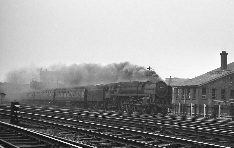 Unidentified Britannia, 48742, up passenger on West Coast Main Line, passing Preston Shed, August 15, 1964.