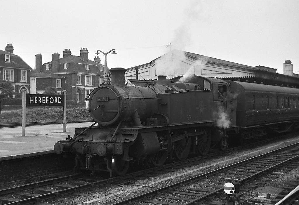 4161, facing north, Hereford, August 13, 1964. Picture taken from a passing Warship-hauled Plymouth-Liverpool Lime Street train.