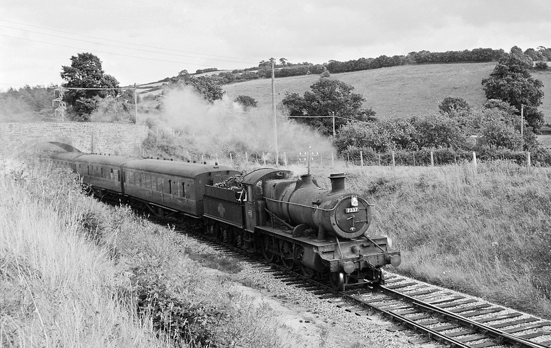 7337, Taunton-Barnstaple Junction, near Morebath Junction, August, 1964.
