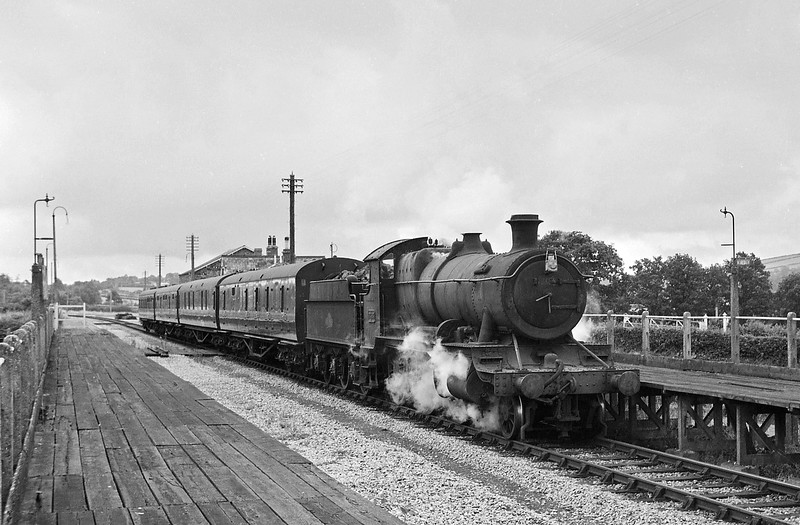 7305, Taunton-Barnstaple Junction, departing Morebath Station, August, 1964.