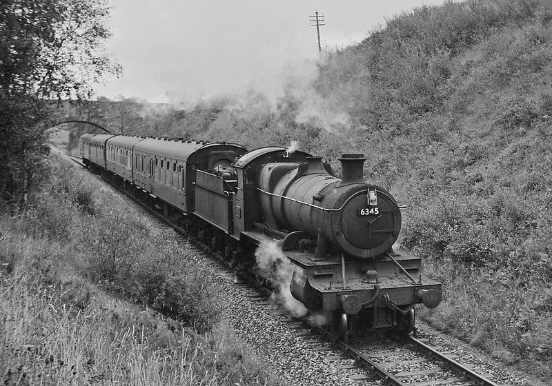 6345, Barnstaple Junction-Taunton, near Morebath, August, 1964.