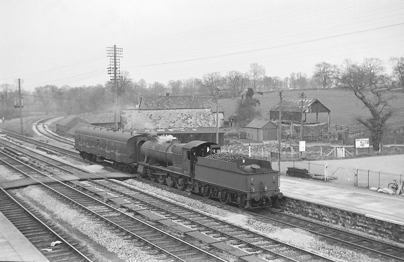 3802, arriving at Tiverton Junction to collect milk tanks from Hemyock, 1964.
