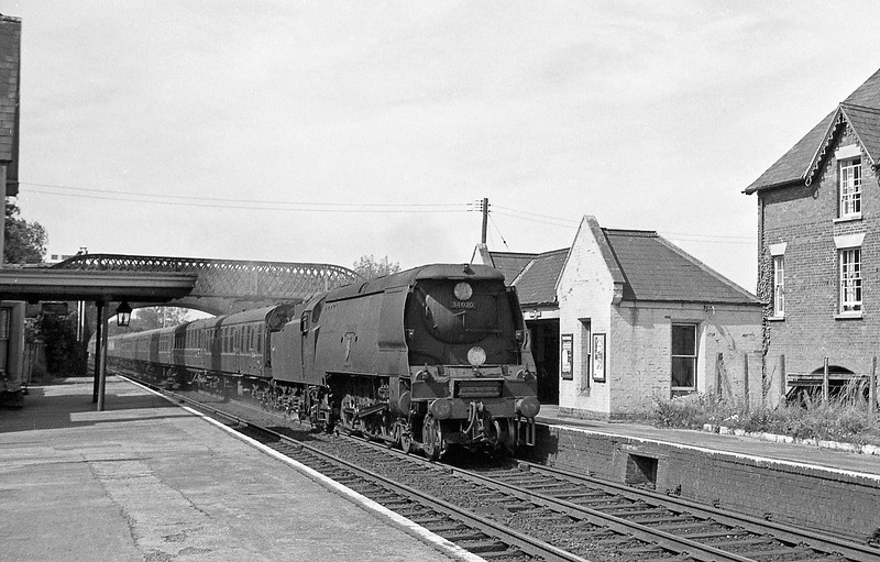 34020 Seaton, up ecs, Broadclyst, near Exeter, summer 1964. Note non-SR coaching stock.