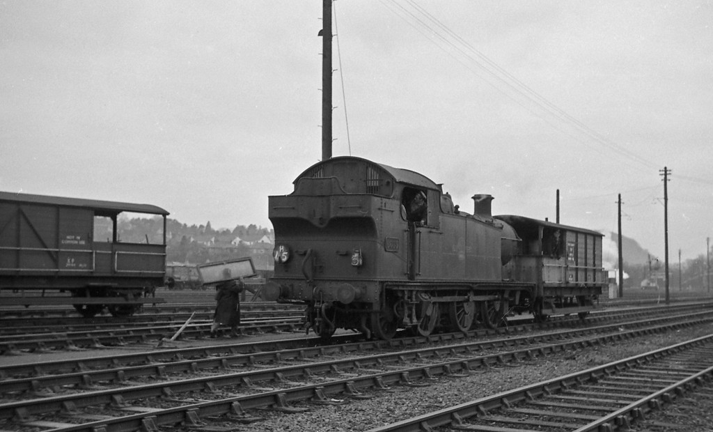 6635, up guards van, Radyr, January 1, 1964