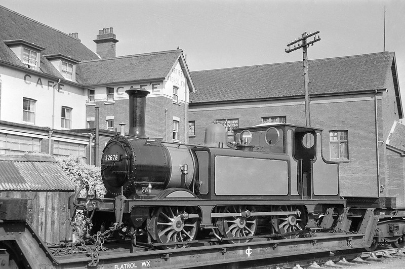 32678, preserved, arrives Minehead, for display at Butlin's Holiday Camp, July, 1964.