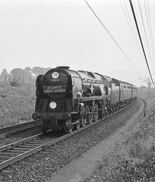 35022 Holland America Line, London Waterloo-Exeter Central-Padstow, last down Atlantic Coast Express, approaching Sidmouth Junction, September 5, 1964.