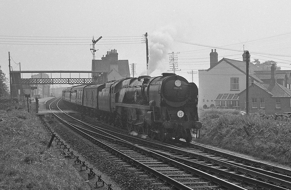 35016 Elders Fyffes, London Waterloo-Exeter Central, Sidmouth Junction, September 5, 1964.
