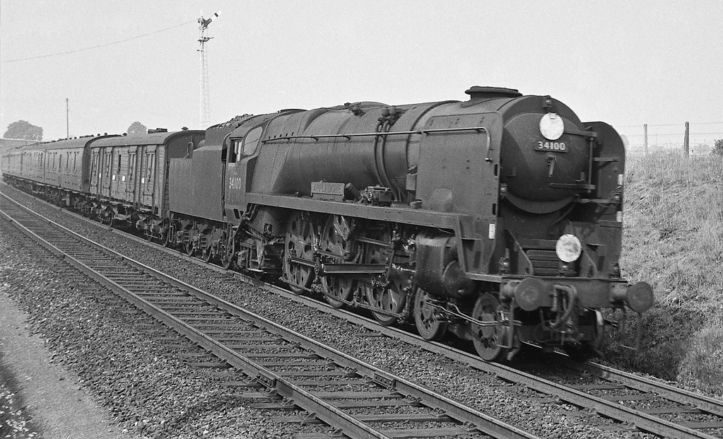 34100 Appledore, up semi-fast, Sidmouth Junction, September 5, 1964.